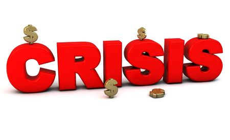 3d red crisis word with money on white background photo
