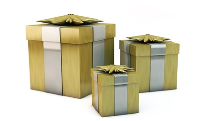 Golden gift boxes on white background Stock Photo