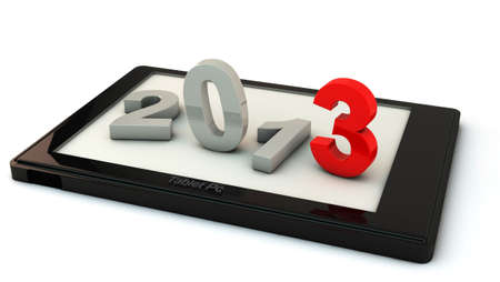 New year 2013 in a tbalet on white background photo