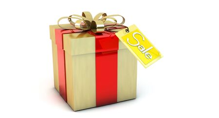 3d golden gift box with a tag sale photo