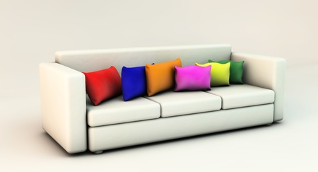 Sofa 3d white with cushions of many colors photo