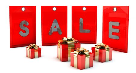 Sale red tags in 3d on white background with gift boxes photo