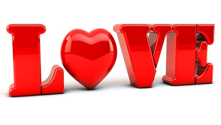 Love in 3d with heart in red on white background photo