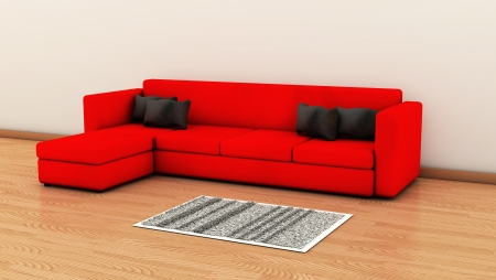 postmodern: Red Sofa with black cushions and a carpet on a wooden floor