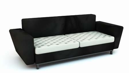 Black sofa with white cushions in 3d on white background photo