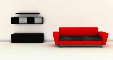 Living room with red sofa modern furniture in 3d photo