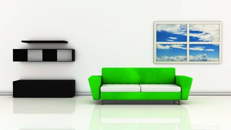 Green sofa and black furniture with a window where you can see the sky photo
