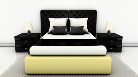 Bed with side tables and floor carpet on bright white in 3d photo