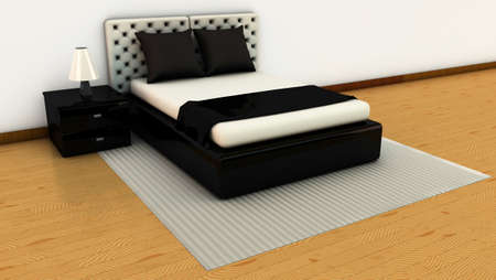 Room in white and black with wooden floors in 3d photo