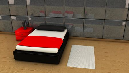 Room in red and black with wooden floors in 3d photo