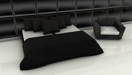 Modern room in white and black colors in 3d photo