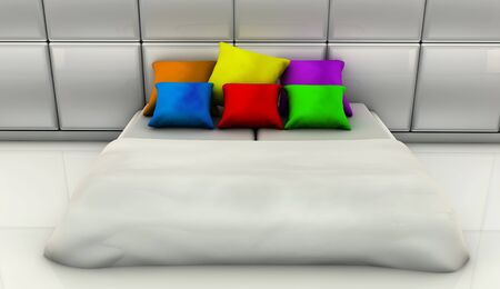 White bed with cushions of many colors in 3d photo