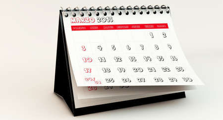 March 2013 Calendar in spanish in 3d photo
