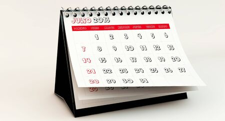 July 2013 Calendar in spanish in 3d Stock Photo - 17162879
