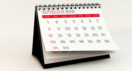 September 2013 Calendar in spanish in 3d photo