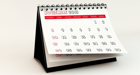 November 2013 Calendar in spanish in 3d photo