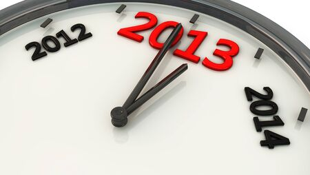 2013 marked by the hands of a clock and sides between 2012 and 2014 photo