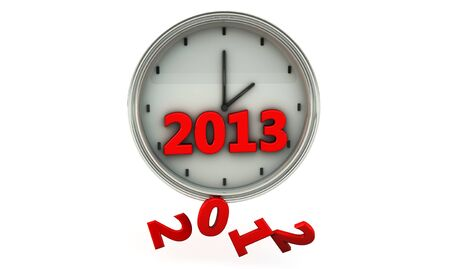 Clock with the new year 2013 and 2012 falling photo