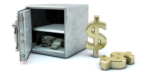 Open safe with money and the dollar symbol photo