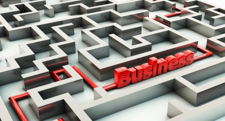 3d maze with a red route and business photo