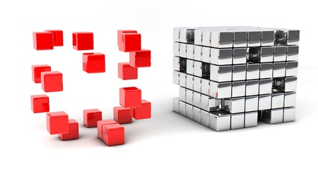 Block consists of small cubes of red and silver photo