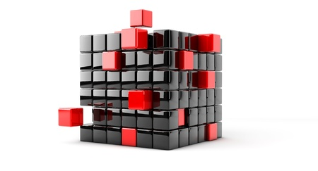 Block consists of small cubes of red and black photo