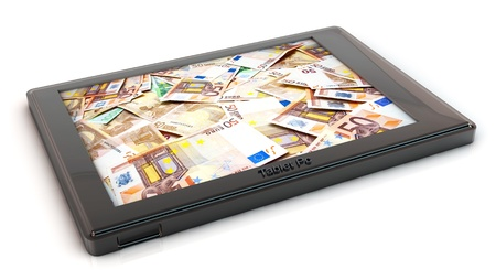 3d Tablet pc with image of euro notes on white background photo