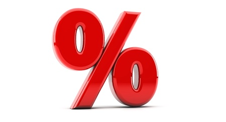 Render red percentage symbol in 3d on white background