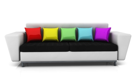 postmodern: White  sofa  with cushions of many colors