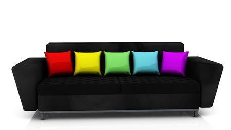 Black sofa  with cushions of many colors photo