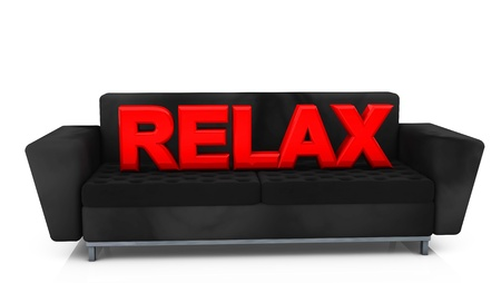 Word red relax on  sofa photo