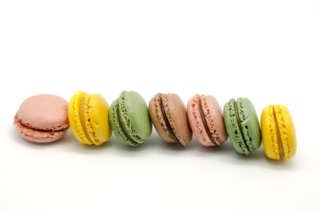 Colored Macaroons on white background photo