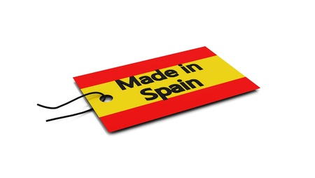 made in spain: 3d label Made in Spain on white background Stock Photo