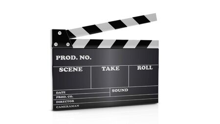 3d cinema clapboard on white background photo