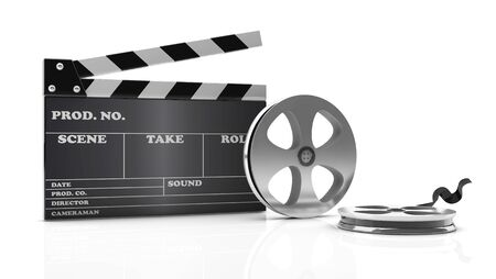 3d cinema clapboard and film on white background Stock Photo
