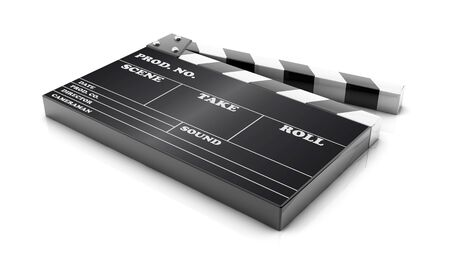 3d cinema clapboard sobre fondo blanco photo