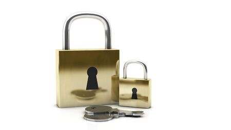 3d padlocks on white background photo