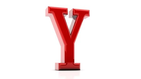 3d letter Y bright red on white background photo