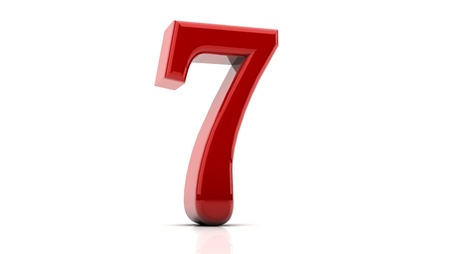3d Number seven in red on white background photo