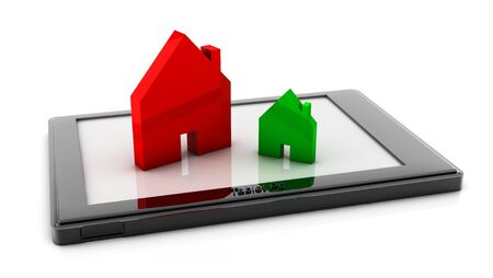 Symbols of green and red houses on a tablet on white background photo