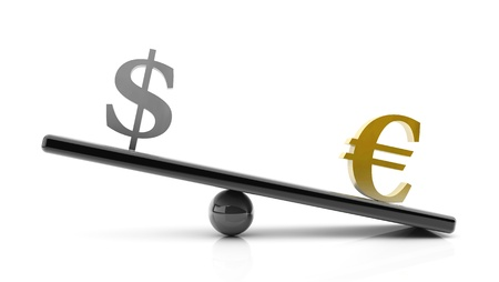 Euro to dollar gains on a scale, concept in 3d on white background Stock Photo - 18025619