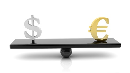 3d scale of dollar and euro on white background Stock Photo - 18025624