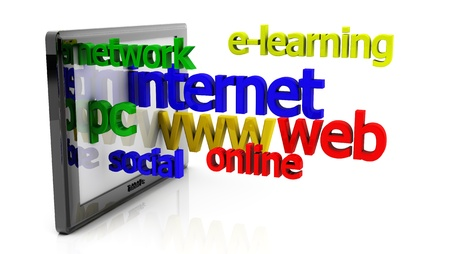3d tablet pc and internet related words on white background Stock Photo - 18025642