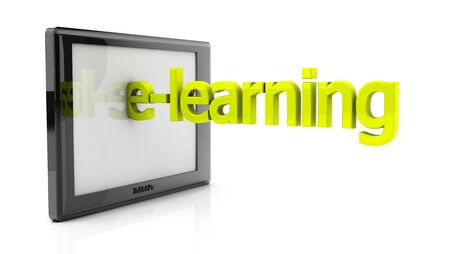3d tablet pc and e-learning on white background Stock Photo - 18025635