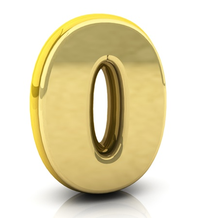 3d Number zero  in gold on white background