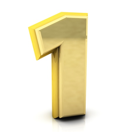 one object: 3d Number one  in gold on white background