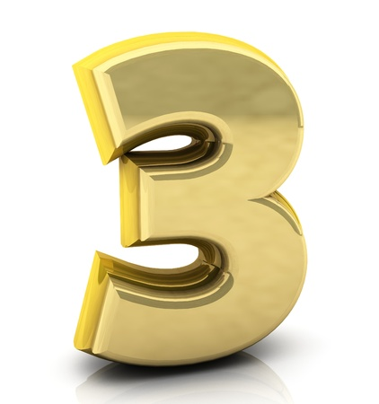3d Number  three  in gold on white background