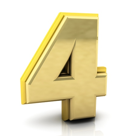 3d Number  four in gold on white background Stock Photo