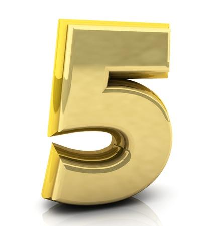 five objects: 3d Numero cinque in oro su sfondo bianco