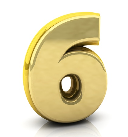 six objects: 3d Number  six in gold on white background